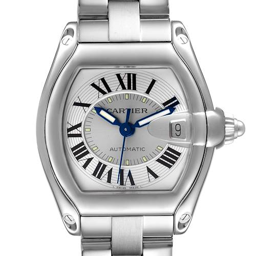 Photo of Cartier Roadster Silver Dial Steel Mens Watch W62000V3 Box Papers Strap