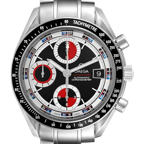 Photo of Omega Speedmaster Black Red Casino Dial Steel Mens Watch 3210.52.00 Box Card