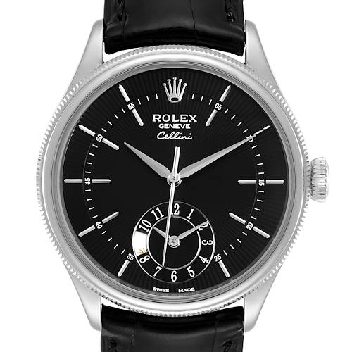 Photo of Rolex Cellini Dual Time White Gold Automatic Mens Watch 50529 Box Card