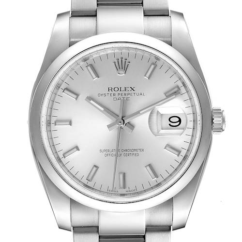 Photo of Rolex Date 34 Silver Baton Dial Stainless Steel Mens Watch 115200