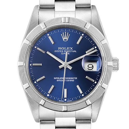Photo of Rolex Date Blue Dial Oyster Bracelet Steel Unisex Watch 15210