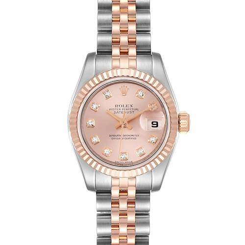 Photo of Rolex Datejust 26 Steel Rose Gold Diamond Ladies Watch 179161 Box