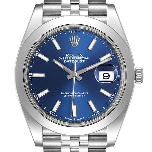 Photo of Rolex Datejust 41 Blue Dial Jubilee Bracelet Steel Mens Watch 126300 Box Card