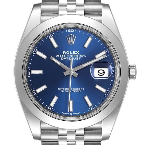 Photo of Rolex Datejust 41 Blue Dial Jubilee Bracelet Steel Mens Watch 126300 Box Card