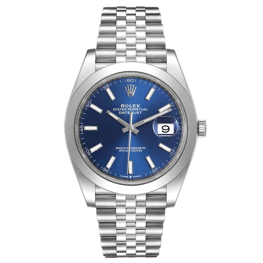 Rolex Datejust 41 Blue Dial Jubilee Bracelet Steel Mens Watch 126300 Box Card SwissWatchExpo