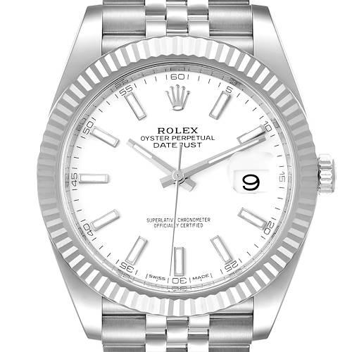Photo of Rolex Datejust 41 Steel White Gold Jubilee Bracelet Mens Watch 126334 Box Card
