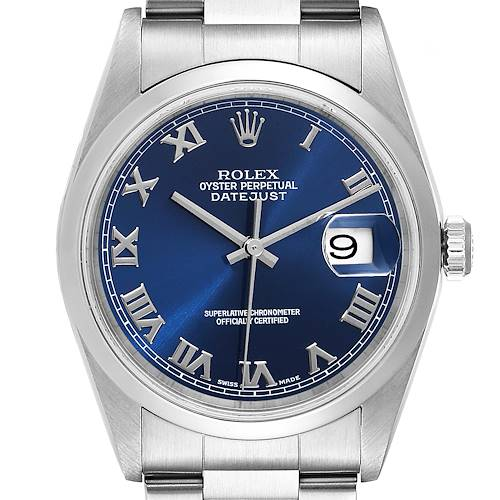 Photo of Rolex Datejust Blue Roman Dial Steel Mens Watch 16200 Box Papers