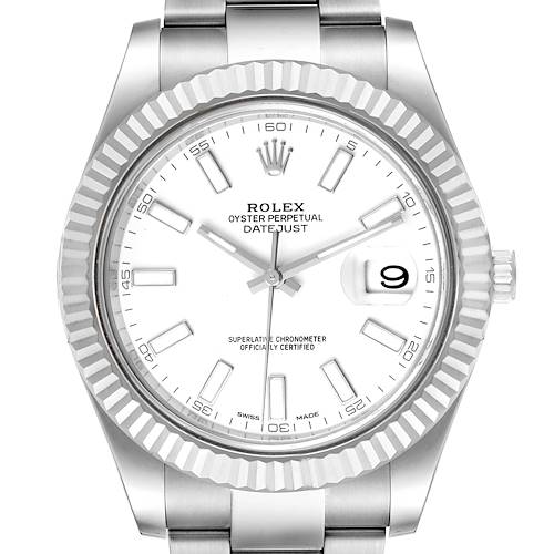 Photo of Rolex Datejust II 41mm Baton Dial Steel White Gold Mens Watch 116334