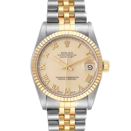 Photo of Rolex Datejust Midsize 31 Ivory Roman Dial Steel Yellow Gold Watch 68273