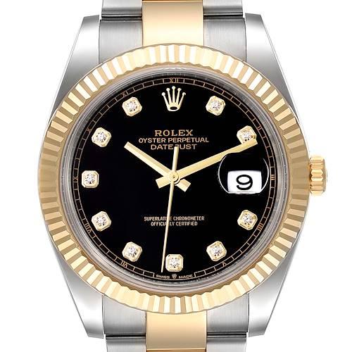 Photo of Rolex Datejust Steel Yellow Gold Black Diamond Dial Mens Watch 126233 Unworn