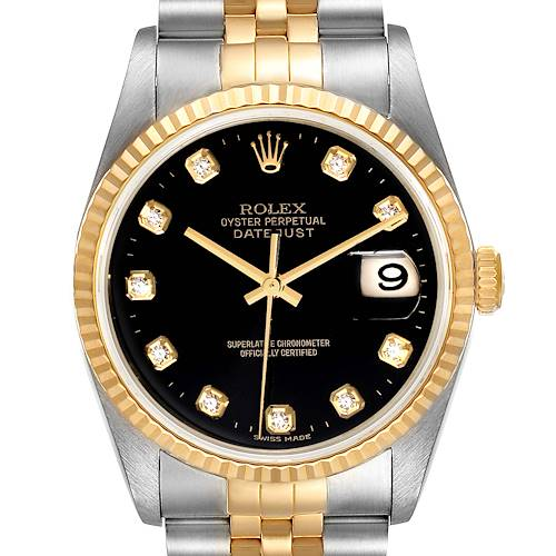 Photo of Rolex Datejust Steel Yellow Gold Diamond Dial Mens Watch 16233 Box Papers