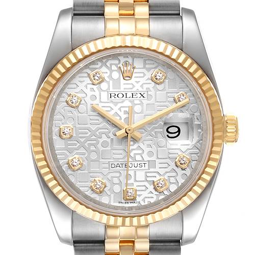 Photo of Rolex Datejust Steel Yellow Gold Silver Diamond Dial Mens Watch 116233