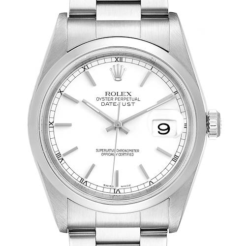 Photo of Rolex Datejust White Dial Steel Mens Watch 16200 Box