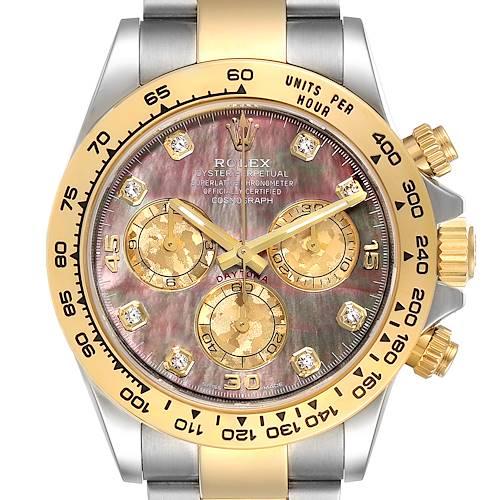 Photo of Rolex Daytona Steel Yellow Gold MOP Diamond Mens Watch 116503 Box Card