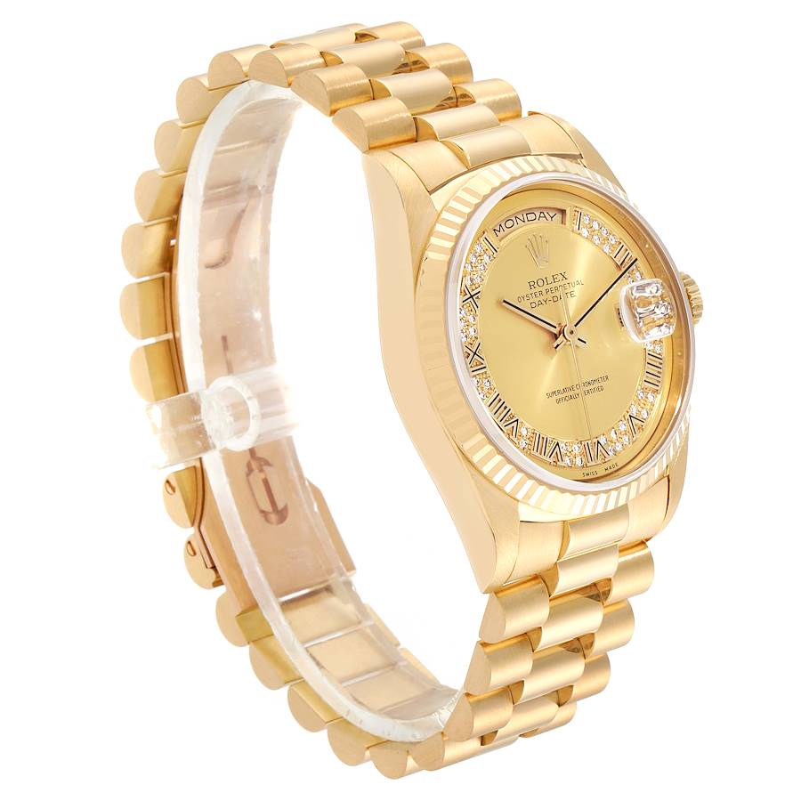 Rolex President Day-Date Yellow Gold Myriad Diamond Mens Watch 18238 SwissWatchExpo
