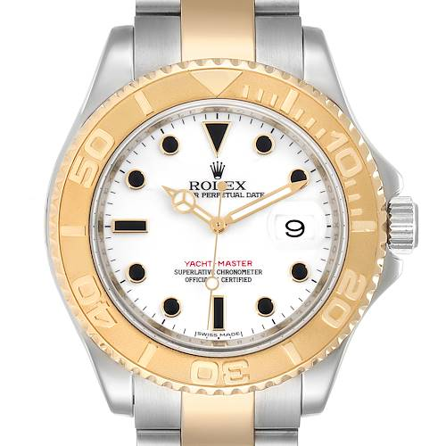 Photo of Rolex Yachtmaster White Dial Steel Yellow Gold Mens Watch 16623 Box Card