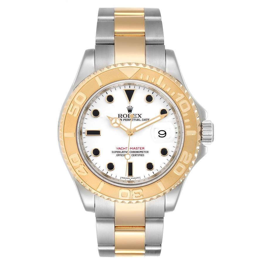 Rolex Yachtmaster White Dial Steel Yellow Gold Mens Watch 16623 Box Card SwissWatchExpo