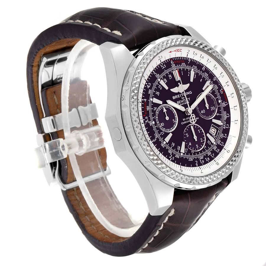 Breitling Bentley Purple Dial Chronograph Steel Mens Watch A25362 SwissWatchExpo