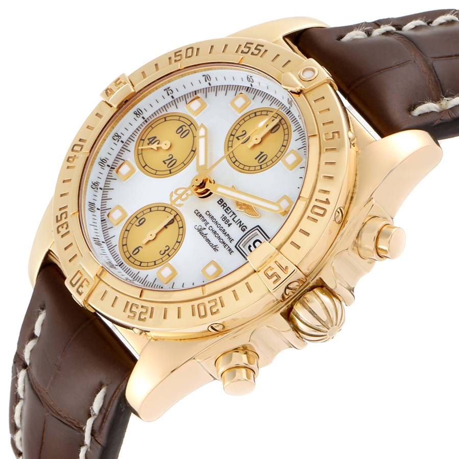 Breitling Windrider Cockpit Yellow Gold Diamond Watch B13355 Box Papers SwissWatchExpo