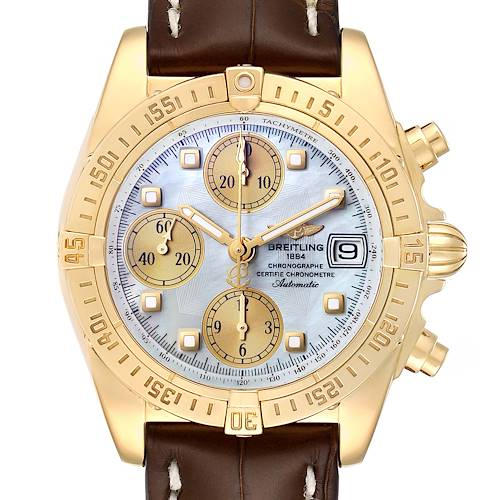 Photo of Breitling Windrider Cockpit Yellow Gold Diamond Watch B13355 Box Papers