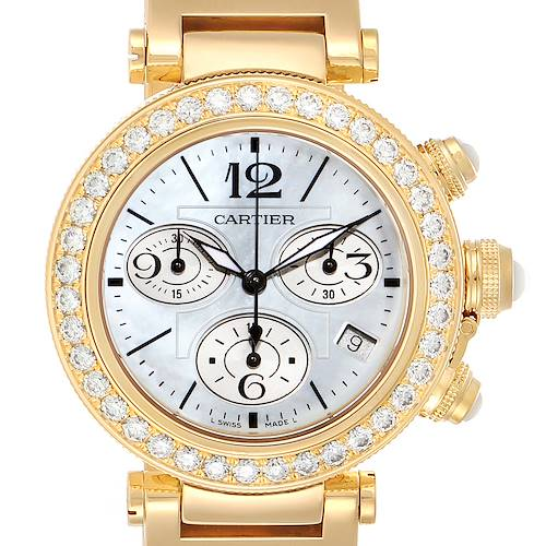 Photo of Cartier Pasha Seatimer Chronograph Yellow Gold Diamond Watch WJ130007