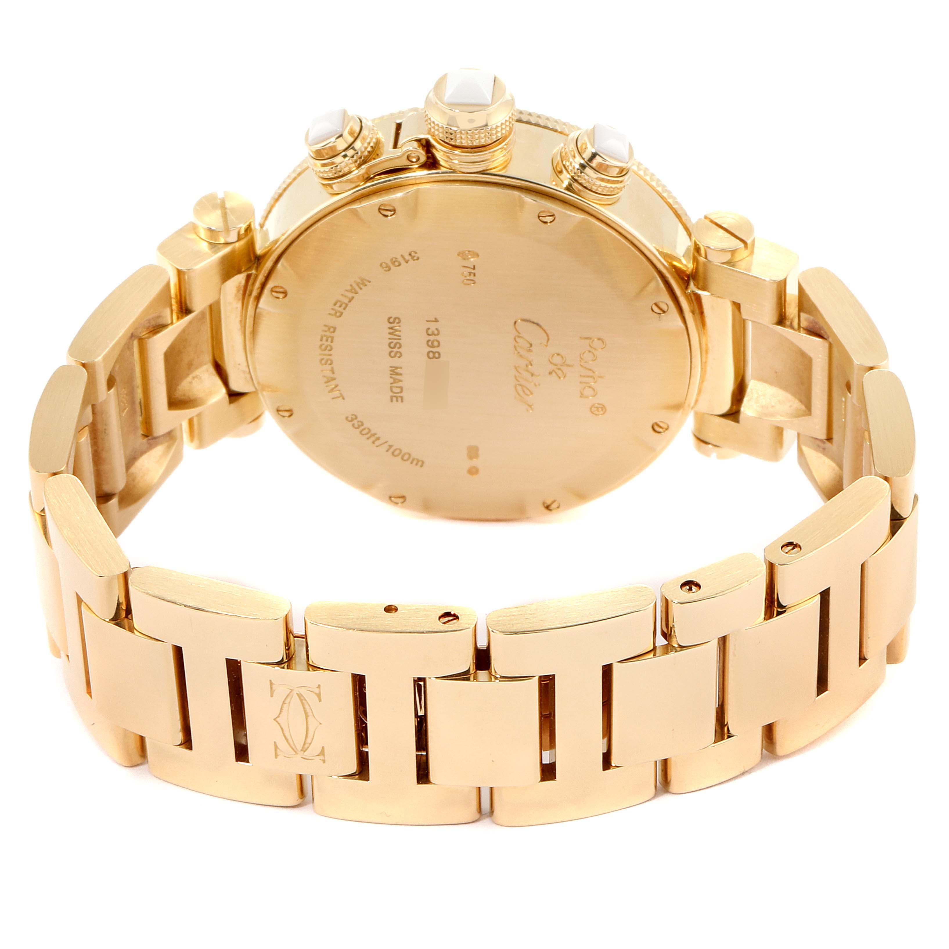 Cartier Pasha Seatimer Chronograph Yellow Gold Diamond Watch WJ130007 SwissWatchExpo