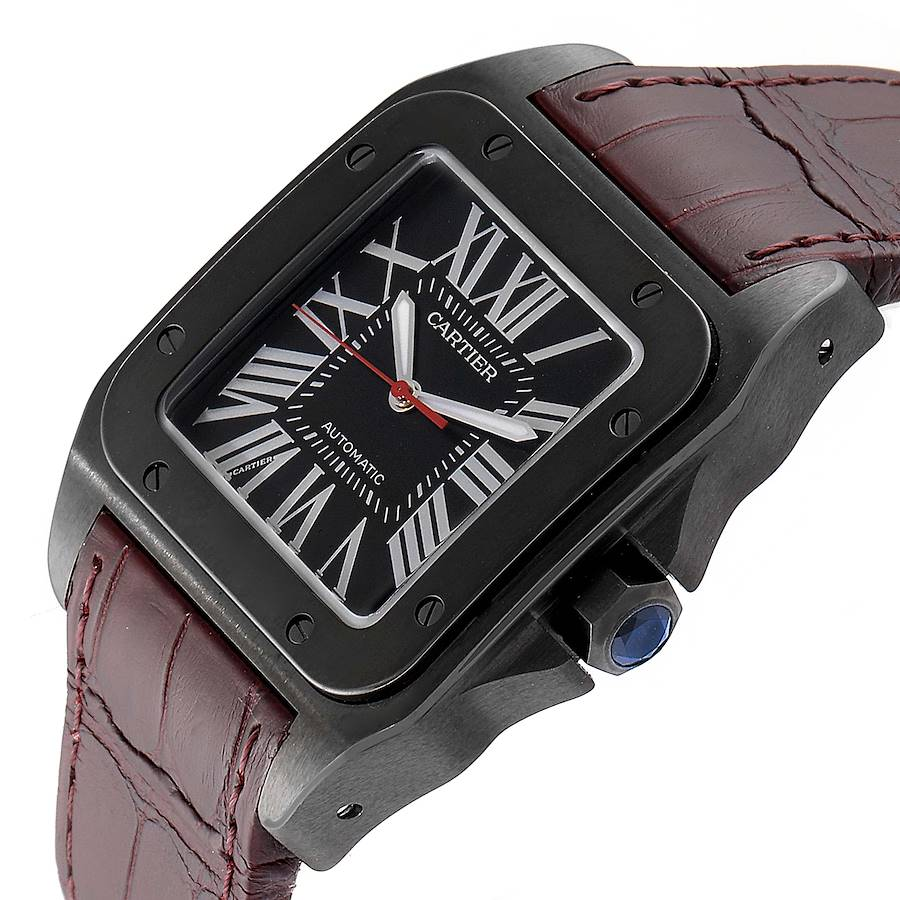 Cartier Santos 100 Carbon ADLC coated Steel Mens Watch WSSA0006 Unworn SwissWatchExpo