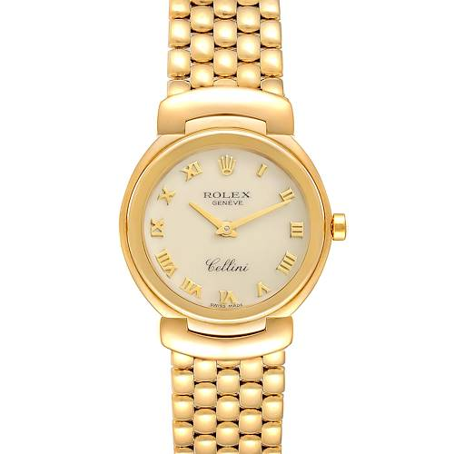 Photo of Rolex Cellini 26mm Ivory Roman Dial Yellow Gold Ladies Watch 6621