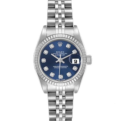 Photo of Rolex Datejust Steel White Gold Blue Diamond Dial Ladies Watch 79174