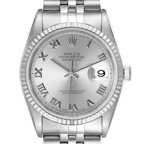 Photo of Rolex Datejust Steel White Gold Jubilee Bracelet Mens Watch 16234 Box Papers