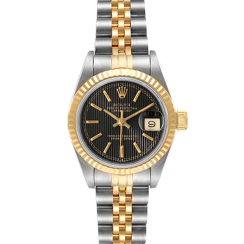 Photo of Rolex Datejust Steel Yellow Gold Black Tapestry Dial Ladies Watch 69173