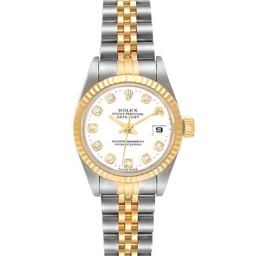Photo of Rolex Datejust Steel Yellow Gold White Diamond Dial Ladies Watch 69173