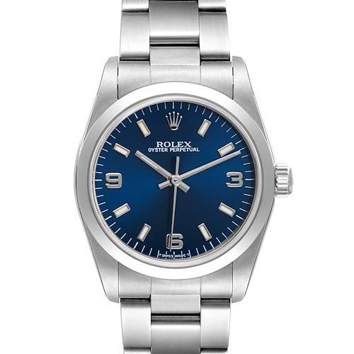 Photo of Rolex Midsize 31mm Steel Blue Dial Oyster Bracelet Ladies Watch 77080
