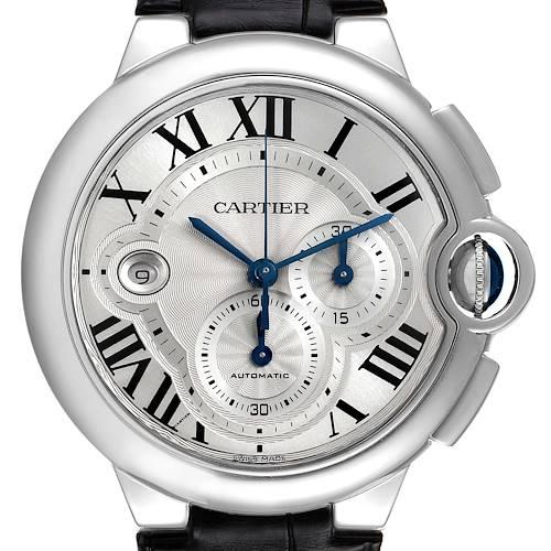 Photo of Cartier Ballon Bleu Steel Silver Dial Chronograph Mens Watch W6920003 Box Card
