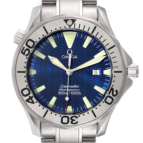 Photo of Omega Seamaster Electric Blue Wave Dial Mens Watch 2265.80.00 Box Card