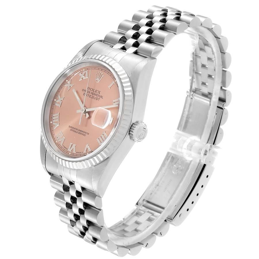 Rolex Datejust 36 Steel White Gold Salmon Dial Mens Watch 16234 SwissWatchExpo