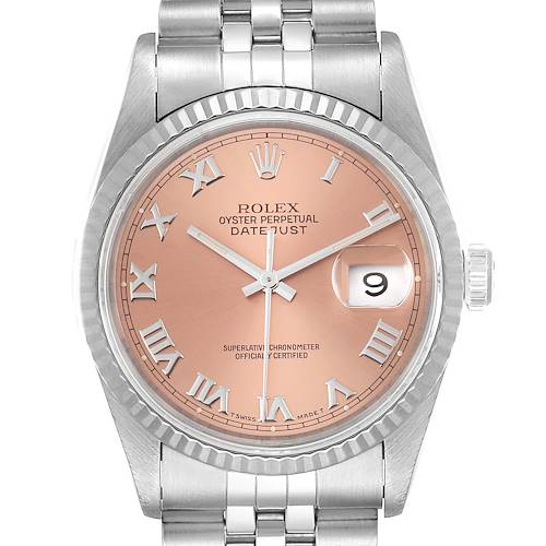 Photo of Rolex Datejust 36 Steel White Gold Salmon Dial Mens Watch 16234