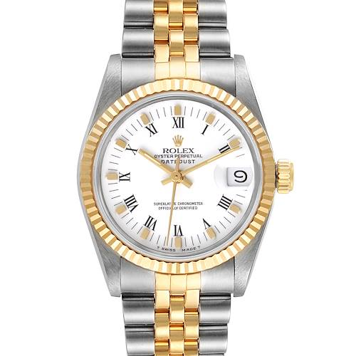 Photo of Rolex Datejust Midsize 31 Steel Yellow Gold White Dial Ladies Watch 68273