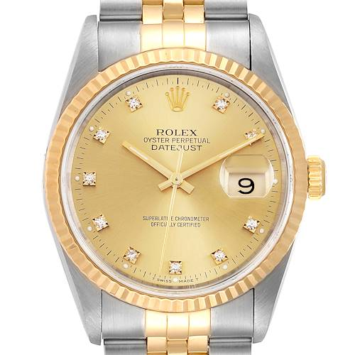 Photo of Rolex Datejust Steel 18K Yellow Gold Diamond Dial Mens Watch 16233