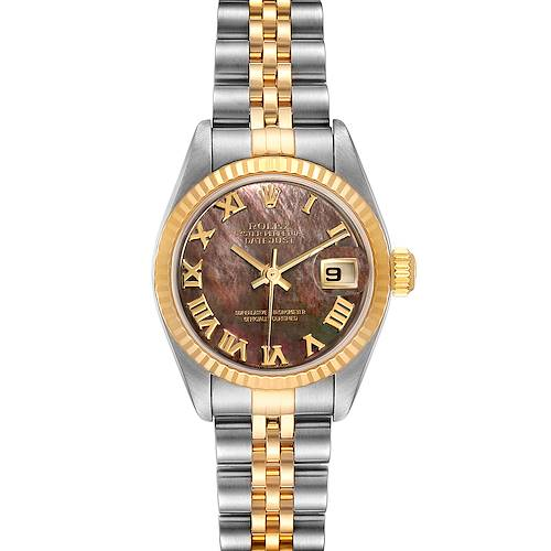 Photo of Rolex Datejust Steel Yellow Gold Black MOP Roman Dial Ladies Watch 79173