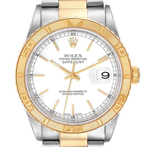 Photo of Rolex Datejust Turnograph Steel Yellow Gold White Dial Mens Watch 16263
