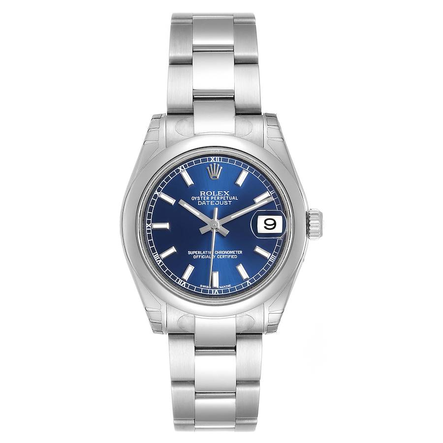 Rolex Midsize Datejust Blue Dial Stainless Steel Ladies Watch 178240 Unworn SwissWatchExpo
