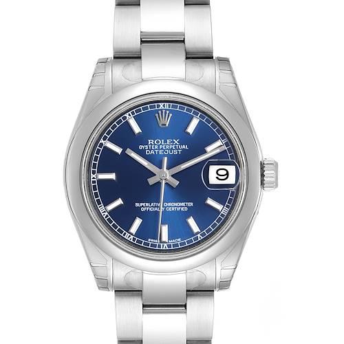 Photo of Rolex Midsize Datejust Blue Dial Stainless Steel Ladies Watch 178240 Unworn