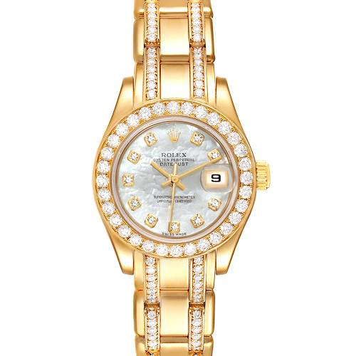 Photo of Rolex Pearlmaster Yellow Gold MOP Diamond Ladies Watch 80298 Box Papers