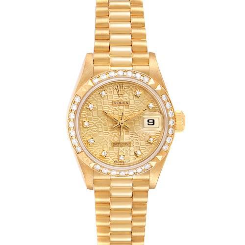 Photo of Rolex President 26 Yellow Gold Pyramid Bezel Diamond Ladies Watch 69268