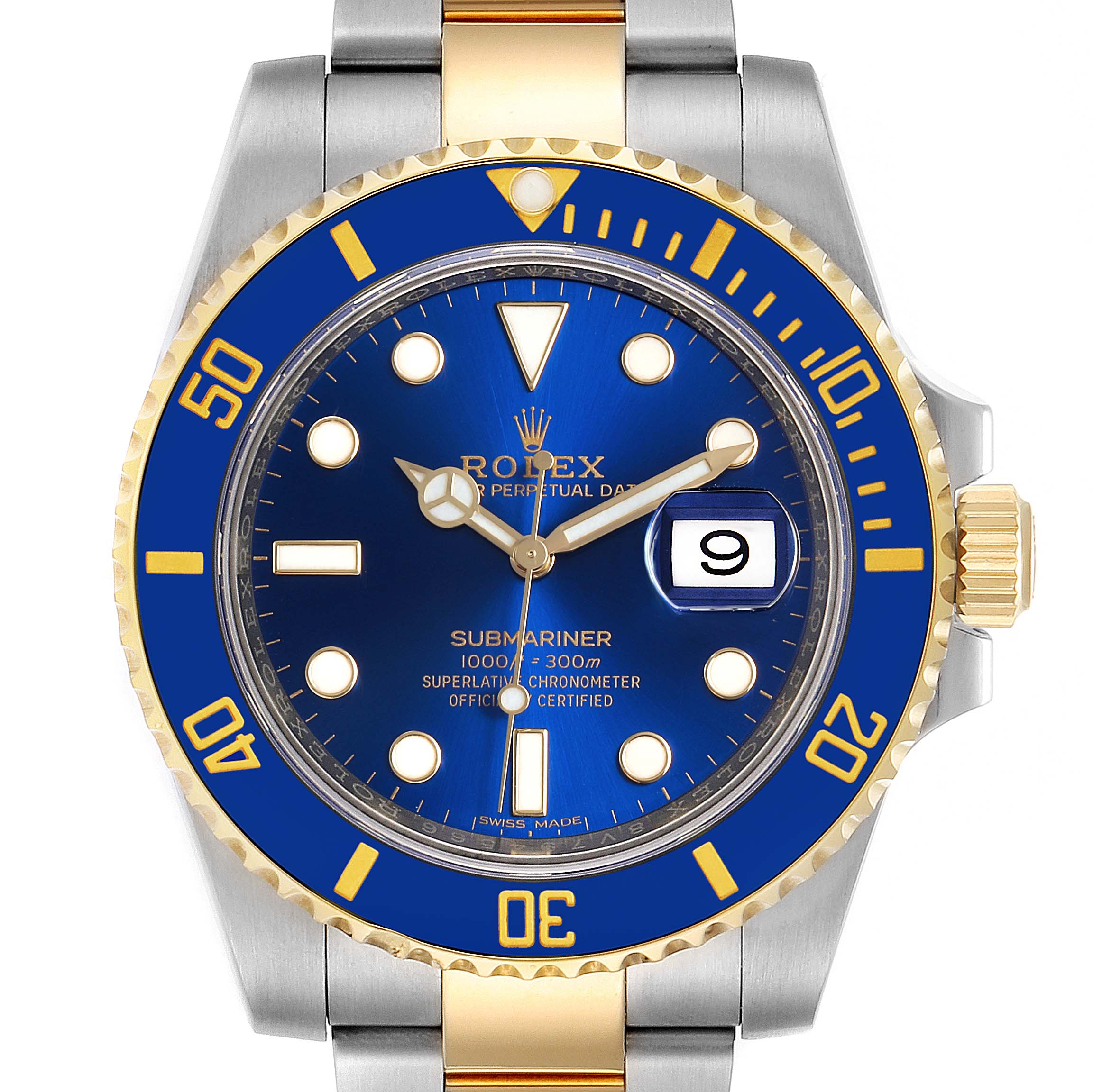 Rolex Submariner Steel 18K Yellow Gold Blue Dial Mens Watch 116613 SwissWatchExpo
