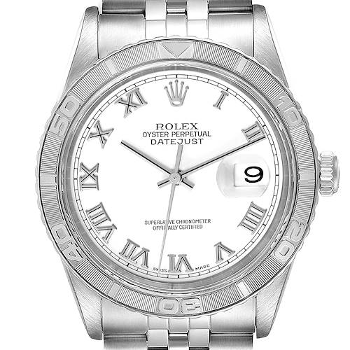 Photo of Rolex Turnograph Datejust Steel White Gold White Dial Watch 16264 Box Papers