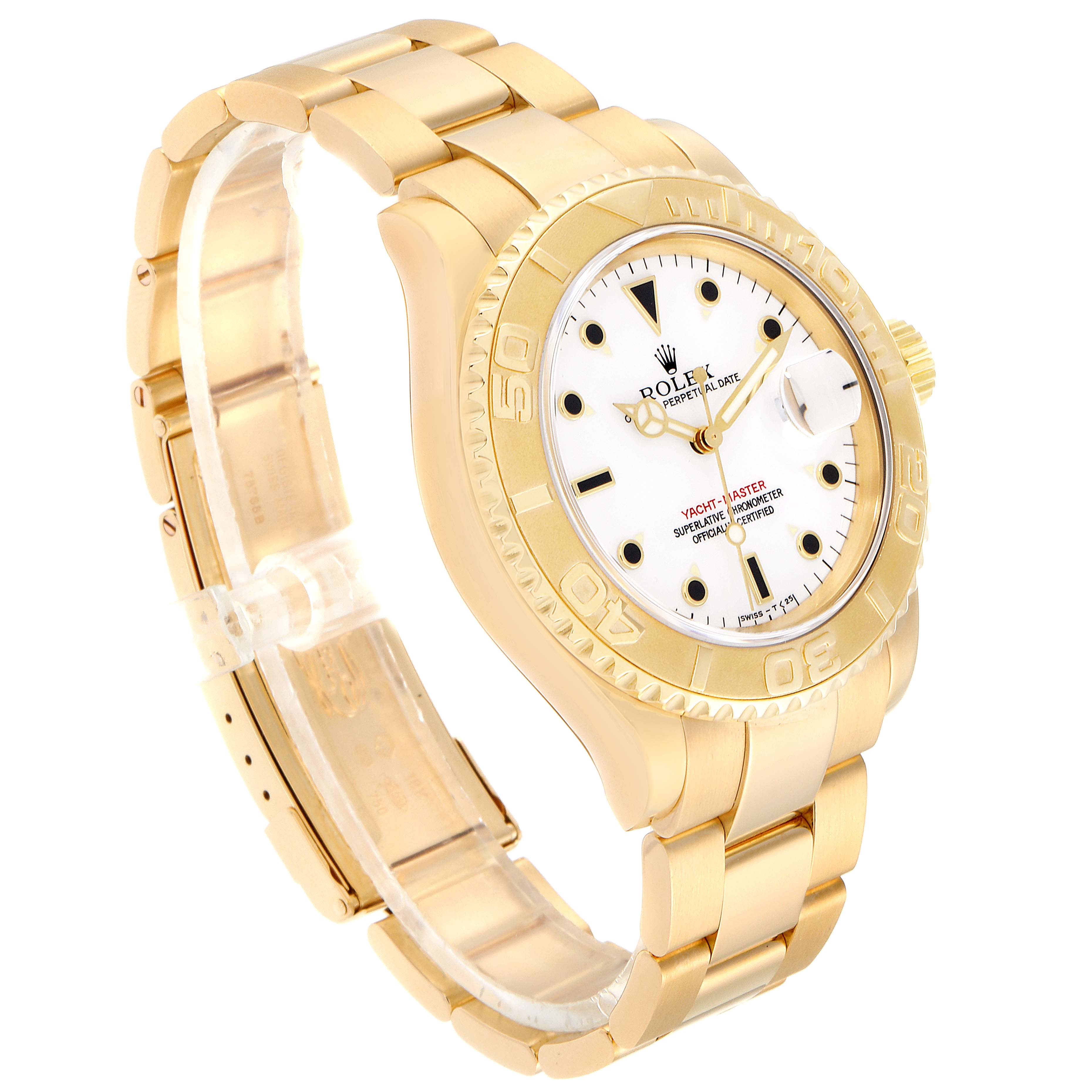 Rolex Yachtmaster 40mm Yellow Gold White Dial Mens Watch 16628 SwissWatchExpo