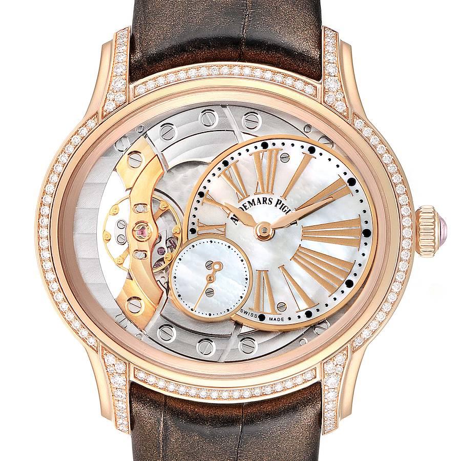 Audemars Piguet Millenary Rose Gold MOP Diamond Ladies Watch 77247OR Box Papers SwissWatchExpo