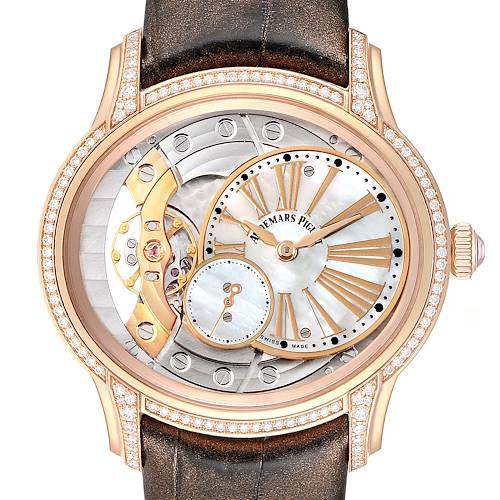Audemars Piguet Millenary Rose Gold MOP Diamond Ladies Watch 77247OR